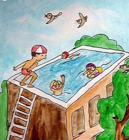 儿童画楼顶游泳池图片