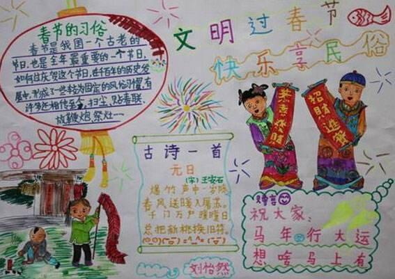 代表春节的词语手抄报